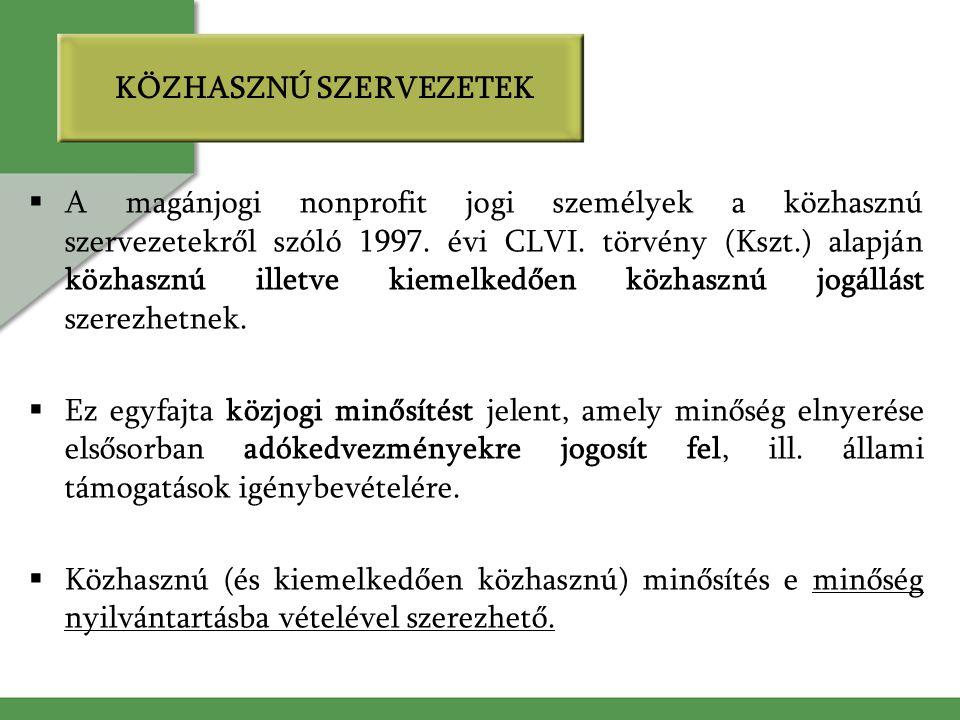 KÖZHASZNÚ SZERVEZETEK  A magánjogi nonprofit jogi személyek a közhasznú szervezetekről szóló 1997. évi CLVI. törvény (Kszt.) alapján közhasznú illetv