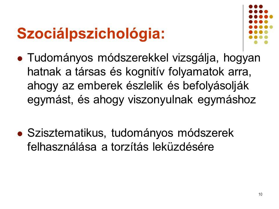 10 Szociálpszichológia:  Tudományos módszerekkel vizsgálja, hogyan hatnak a társas és kognitív folyamatok arra, ahogy az emberek észlelik és befolyás