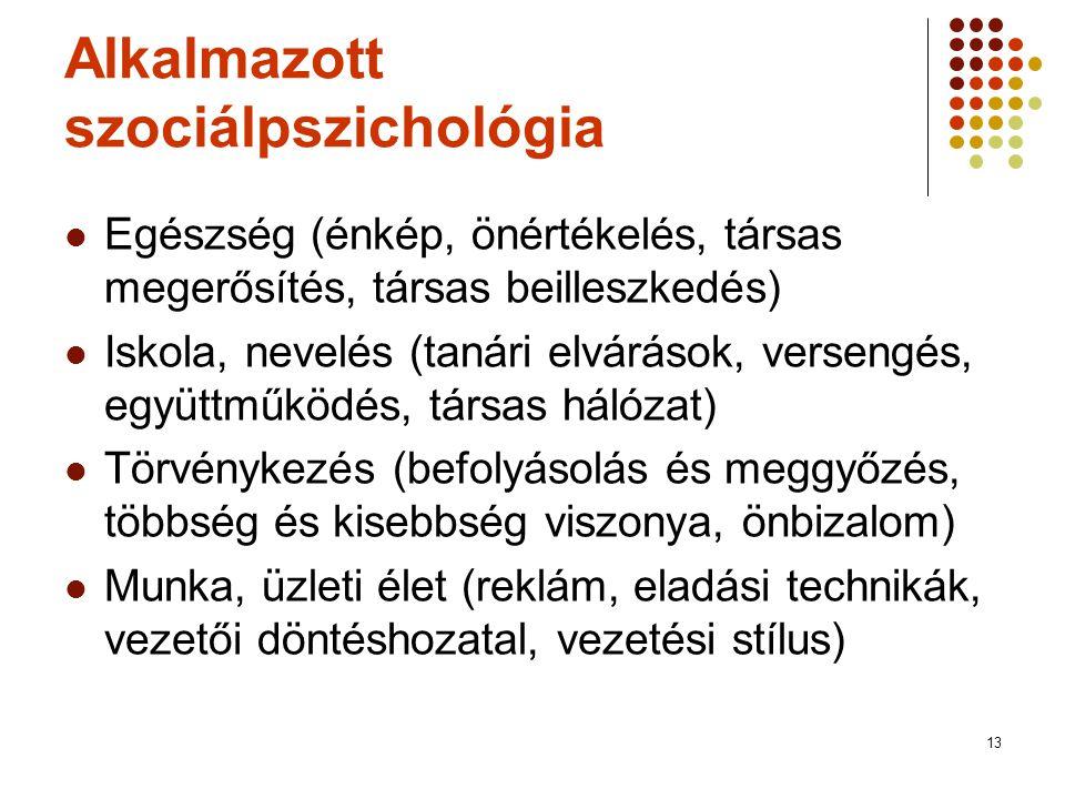 13 Alkalmazott szociálpszichológia  Egészség (énkép, önértékelés, társas megerősítés, társas beilleszkedés)  Iskola, nevelés (tanári elvárások, vers