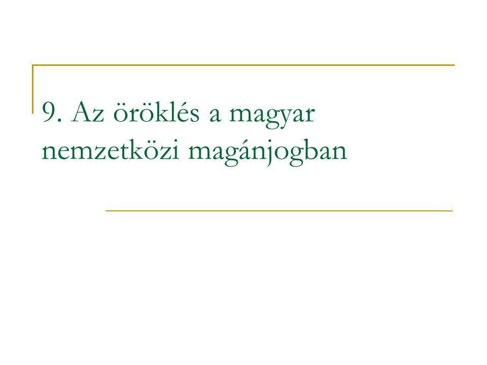 9. Az öröklés a magyar nemzetközi magánjogban