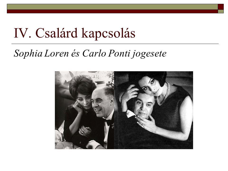 IV. Csalárd kapcsolás Sophia Loren és Carlo Ponti jogesete