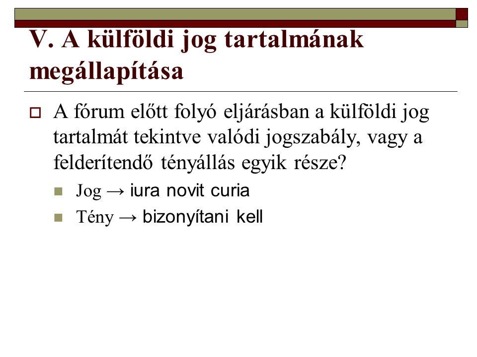 V. A külföldi jog tartalmának megállapítása  A fórum előtt folyó eljárásban a külföldi jog tartalmát tekintve valódi jogszabály, vagy a felderítendő