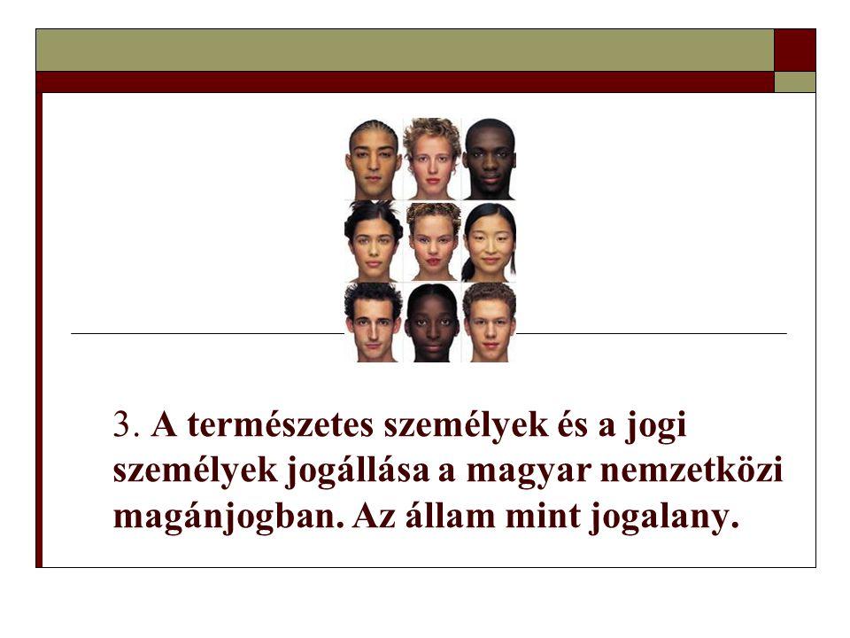 3.A természetes személyek és a jogi személyek jogállása a magyar nemzetközi magánjogban.