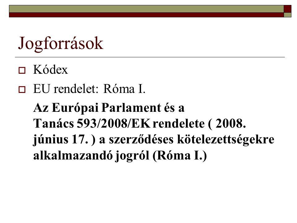 Jogforrások  Kódex  EU rendelet: Róma I.