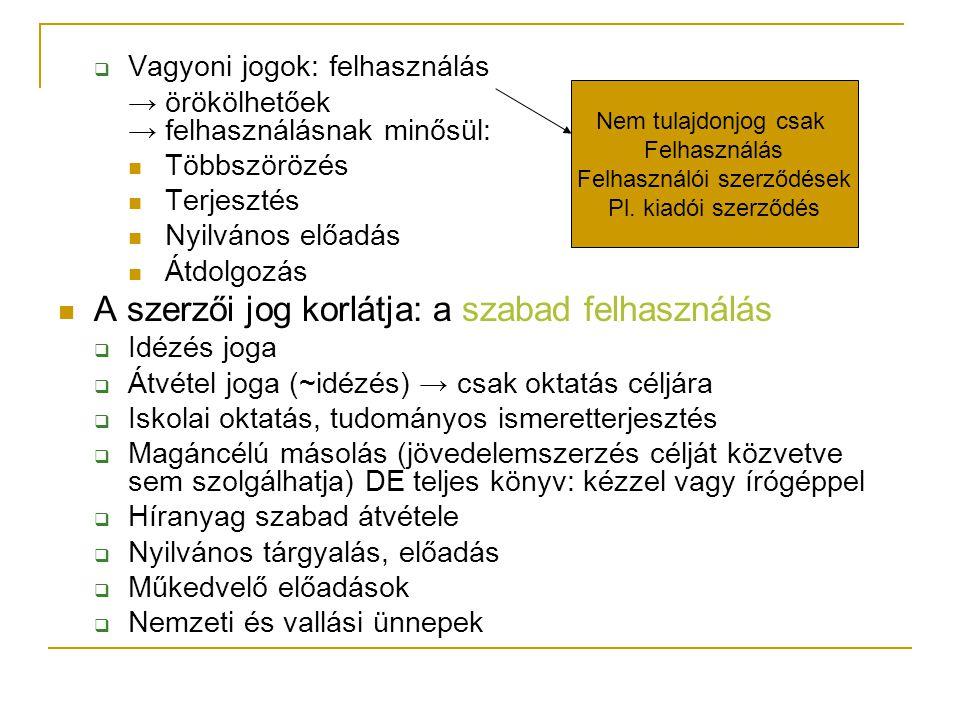  Vagyoni jogok: felhasználás → örökölhetőek → felhasználásnak minősül:  Többszörözés  Terjesztés  Nyilvános előadás  Átdolgozás  A szerzői jog korlátja: a szabad felhasználás  Idézés joga  Átvétel joga (~idézés) → csak oktatás céljára  Iskolai oktatás, tudományos ismeretterjesztés  Magáncélú másolás (jövedelemszerzés célját közvetve sem szolgálhatja) DE teljes könyv: kézzel vagy írógéppel  Híranyag szabad átvétele  Nyilvános tárgyalás, előadás  Műkedvelő előadások  Nemzeti és vallási ünnepek Nem tulajdonjog csak Felhasználás Felhasználói szerződések Pl.