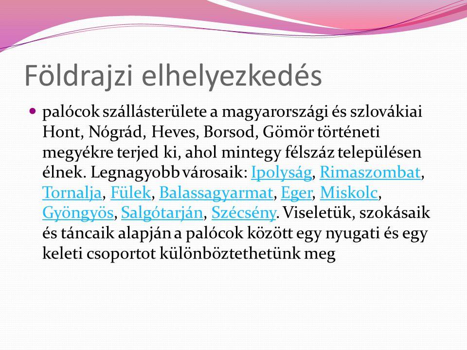  palócok szállásterülete a magyarországi és szlovákiai Hont, Nógrád, Heves, Borsod, Gömör történeti megyékre terjed ki, ahol mintegy félszáz települé