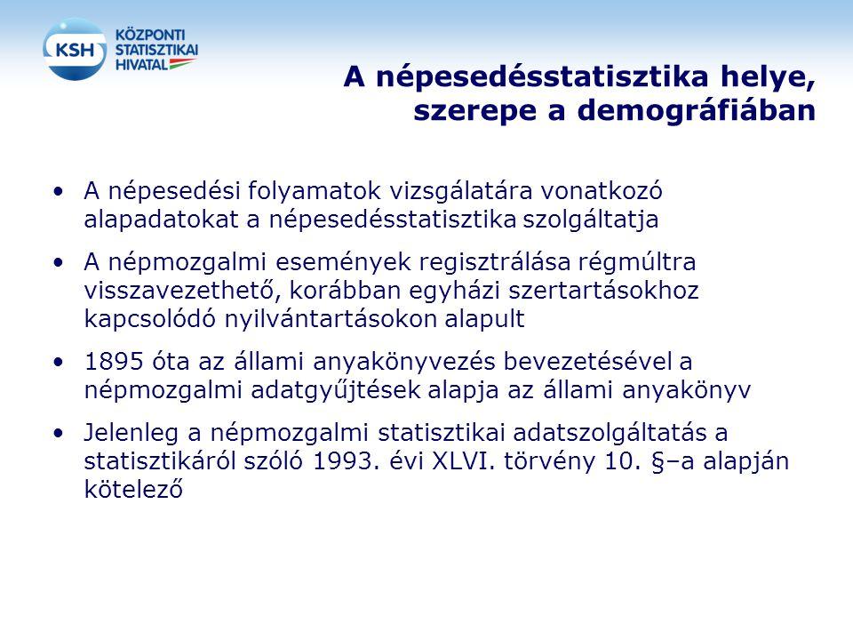 A népesedésstatisztika helye, szerepe a demográfiában •A népesedési folyamatok vizsgálatára vonatkozó alapadatokat a népesedésstatisztika szolgáltatja