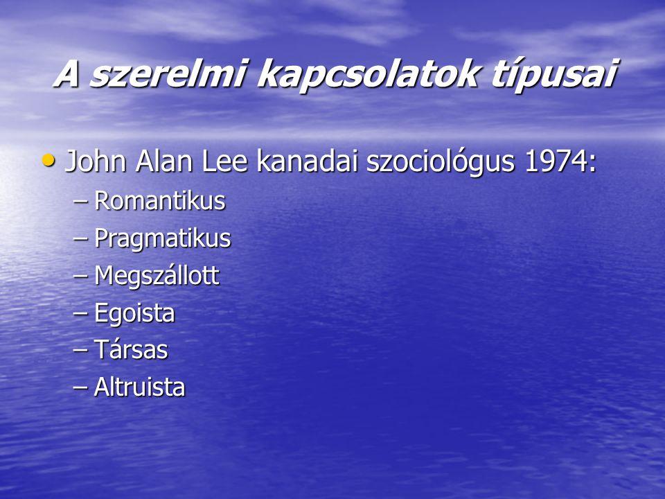 A szerelmi kapcsolatok típusai • John Alan Lee kanadai szociológus 1974: –Romantikus –Pragmatikus –Megszállott –Egoista –Társas –Altruista