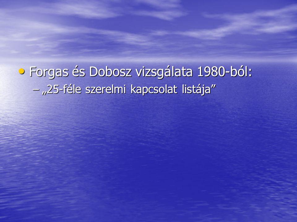 """• Forgas és Dobosz vizsgálata 1980-ból: –""""25-féle szerelmi kapcsolat listája"""""""
