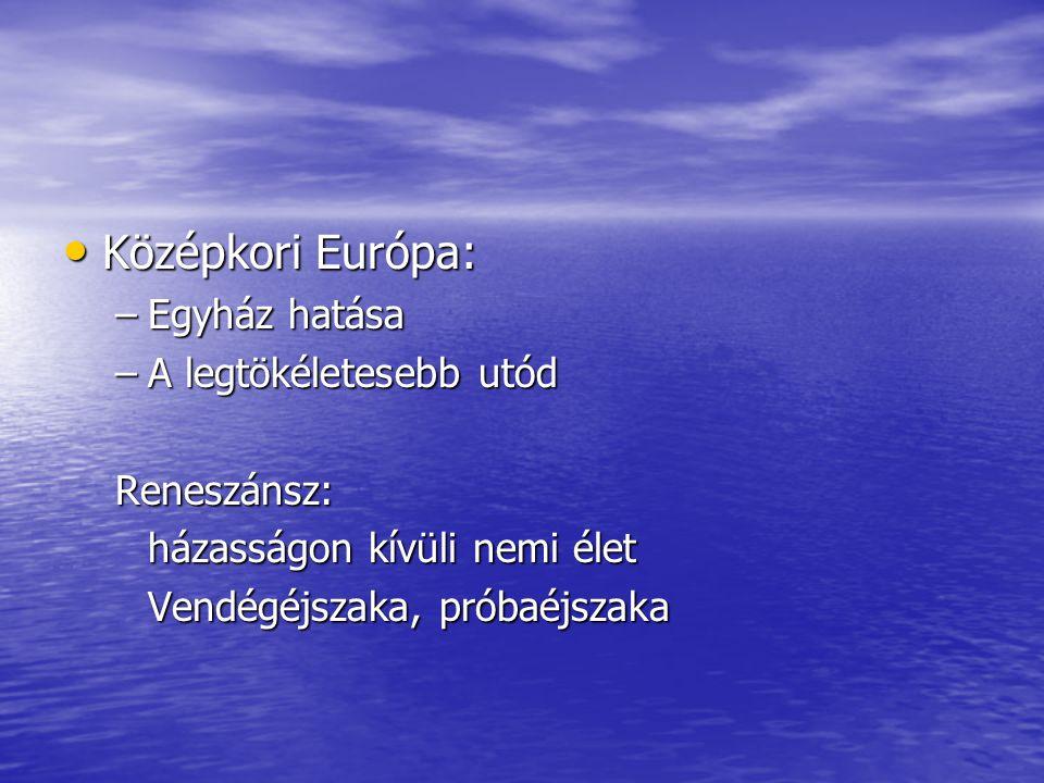 • Középkori Európa: –Egyház hatása –A legtökéletesebb utód Reneszánsz: házasságon kívüli nemi élet Vendégéjszaka, próbaéjszaka