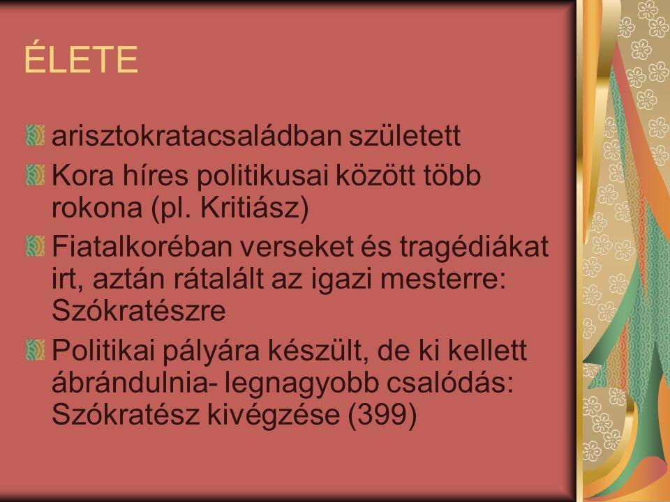 ÉLETE arisztokratacsaládban született Kora híres politikusai között több rokona (pl. Kritiász) Fiatalkoréban verseket és tragédiákat irt, aztán rátalá