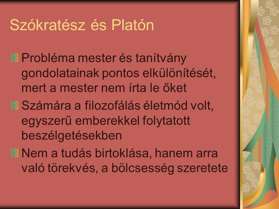 Szókratész és Platón Probléma mester és tanítvány gondolatainak pontos elkülönítését, mert a mester nem írta le őket Számára a filozofálás életmód vol