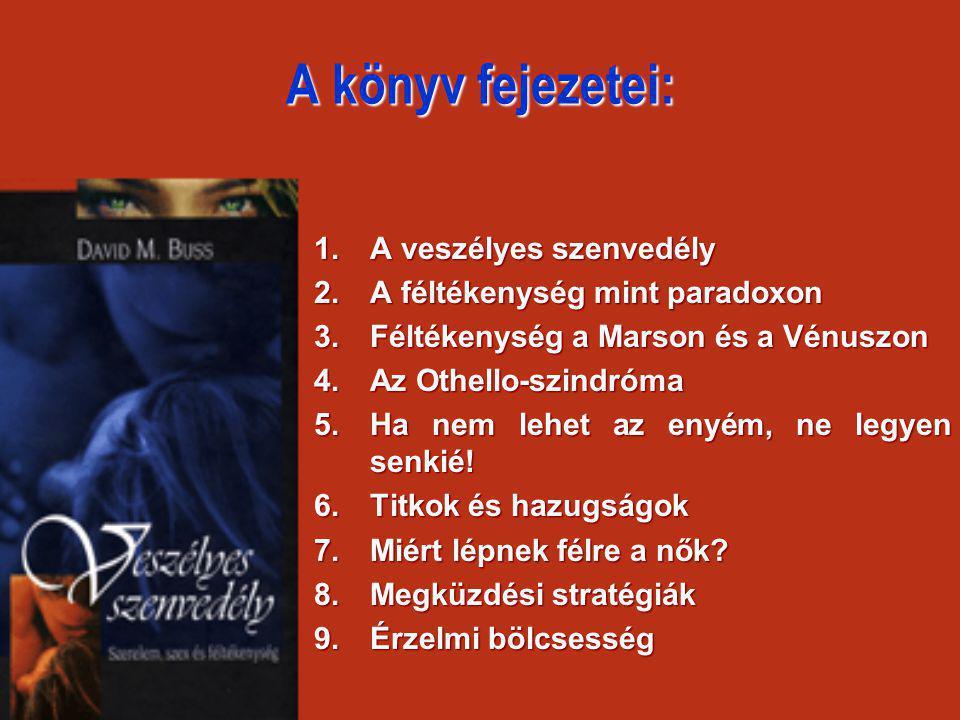 A könyv fejezetei: 1.A veszélyes szenvedély 2.A féltékenység mint paradoxon 3.Féltékenység a Marson és a Vénuszon 4.Az Othello-szindróma 5.Ha nem lehe
