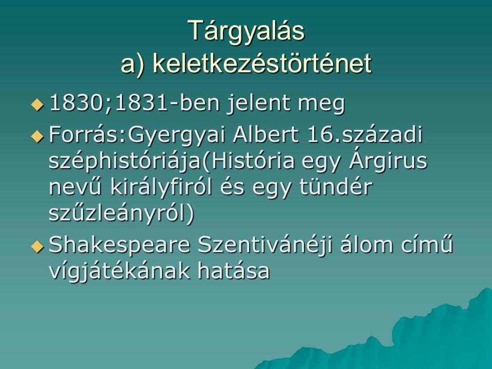 Tárgyalás a) keletkezéstörténet  1830;1831-ben jelent meg  Forrás:Gyergyai Albert 16.századi széphistóriája(História egy Árgirus nevű királyfiról és