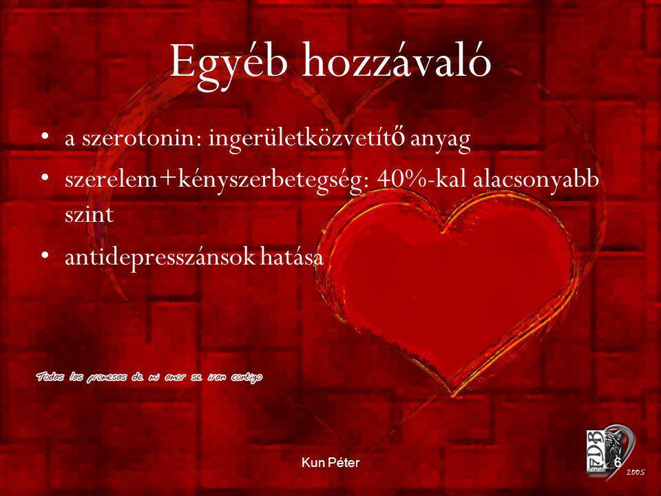Kun Péter6 Egyéb hozzávaló •a szerotonin: ingerületközvetít ő anyag •szerelem+kényszerbetegség: 40%-kal alacsonyabb szint •antidepresszánsok hatása