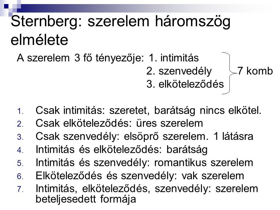 Sternberg: szerelem háromszög elmélete A szerelem 3 fő tényezője: 1. intimitás 2. szenvedély 7 komb 3. elköteleződés 1. Csak intimitás: szeretet, bará
