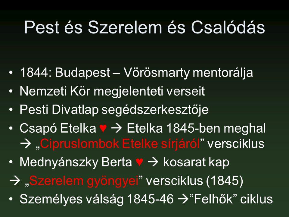 Pest és Szerelem és Csalódás •1844: Budapest – Vörösmarty mentorálja •Nemzeti Kör megjelenteti verseit •Pesti Divatlap segédszerkesztője •Csapó Etelka