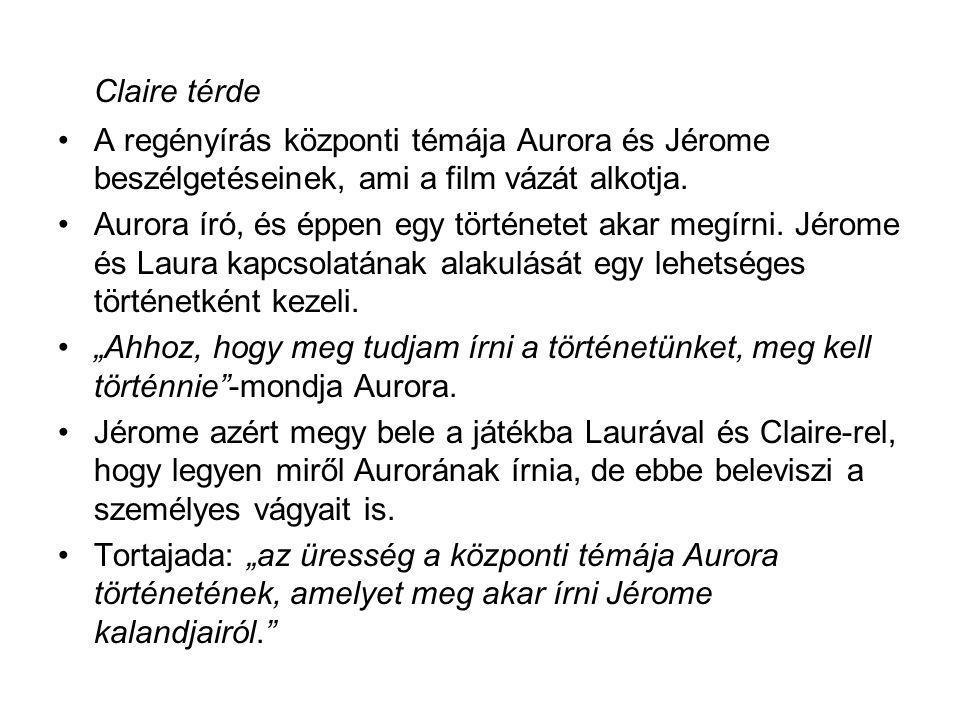 Claire térde •A regényírás központi témája Aurora és Jérome beszélgetéseinek, ami a film vázát alkotja. •Aurora író, és éppen egy történetet akar megí