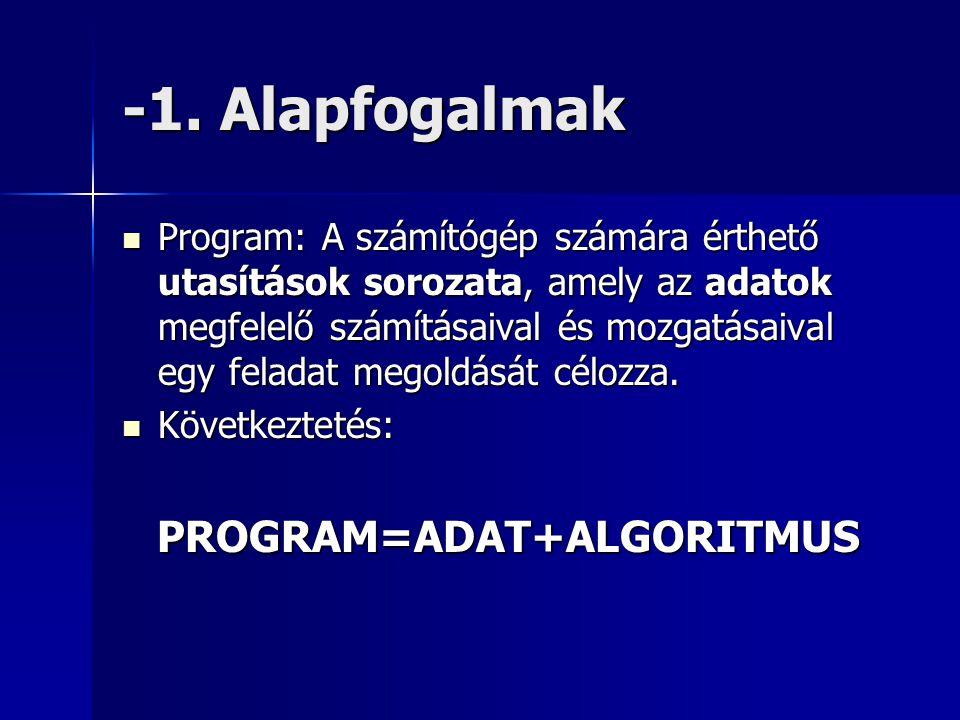 -1. Alapfogalmak  Program: A számítógép számára érthető utasítások sorozata, amely az adatok megfelelő számításaival és mozgatásaival egy feladat meg