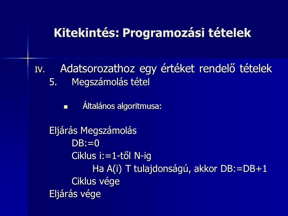 Kitekintés: Programozási tételek IV. Adatsorozathoz egy értéket rendelő tételek 5.Megszámolás tétel  Általános algoritmusa: Eljárás Megszámolás DB:=0