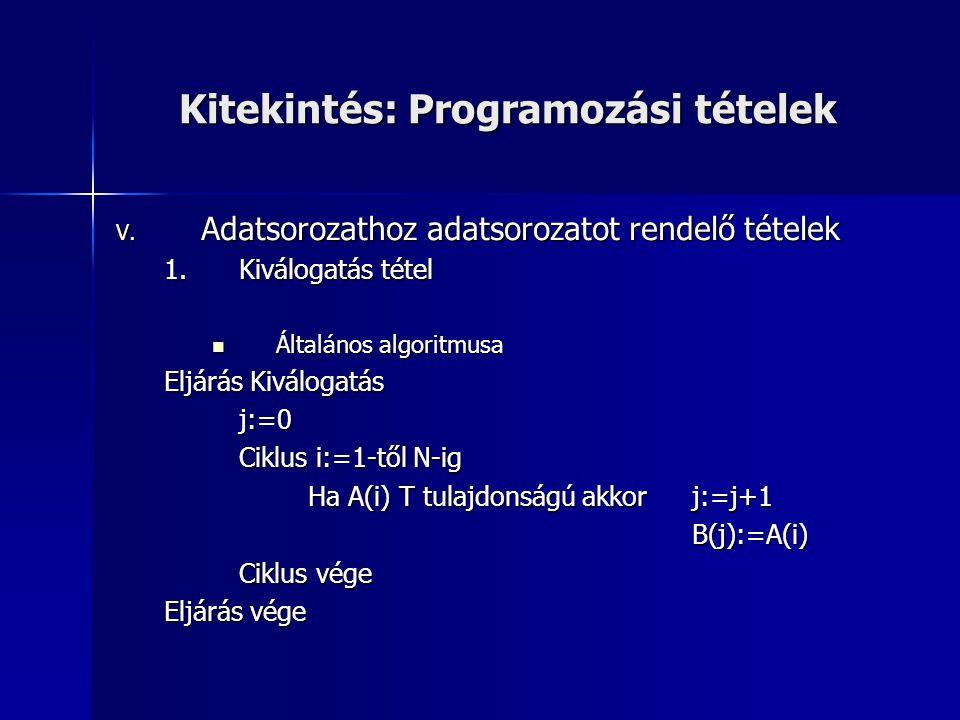 Kitekintés: Programozási tételek V. Adatsorozathoz adatsorozatot rendelő tételek 1.Kiválogatás tétel  Általános algoritmusa Eljárás Kiválogatás j:=0
