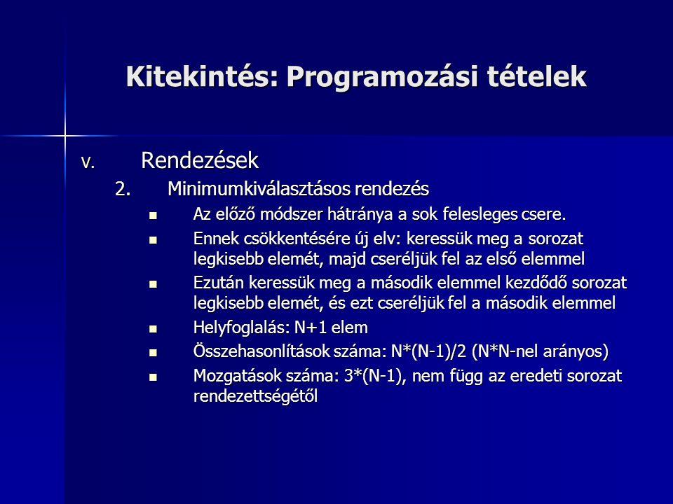 Kitekintés: Programozási tételek V. Rendezések 2.Minimumkiválasztásos rendezés  Az előző módszer hátránya a sok felesleges csere.  Ennek csökkentésé