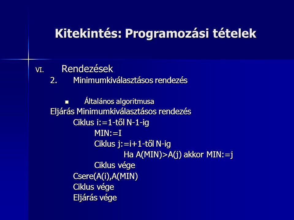 Kitekintés: Programozási tételek VI. Rendezések 2.Minimumkiválasztásos rendezés  Általános algoritmusa Eljárás Minimumkiválasztásos rendezés Ciklus i