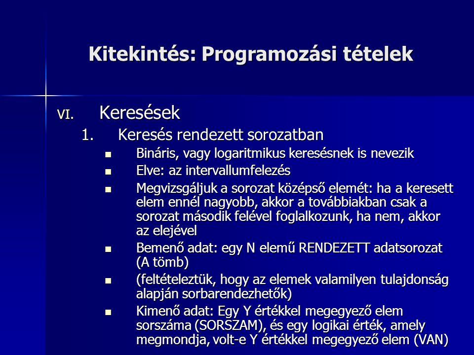 Kitekintés: Programozási tételek VI. Keresések 1.Keresés rendezett sorozatban  Bináris, vagy logaritmikus keresésnek is nevezik  Elve: az intervallu