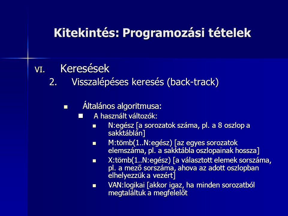 Kitekintés: Programozási tételek VI. Keresések 2.Visszalépéses keresés (back-track)  Általános algoritmusa:  A használt változók:  N:egész [a soroz