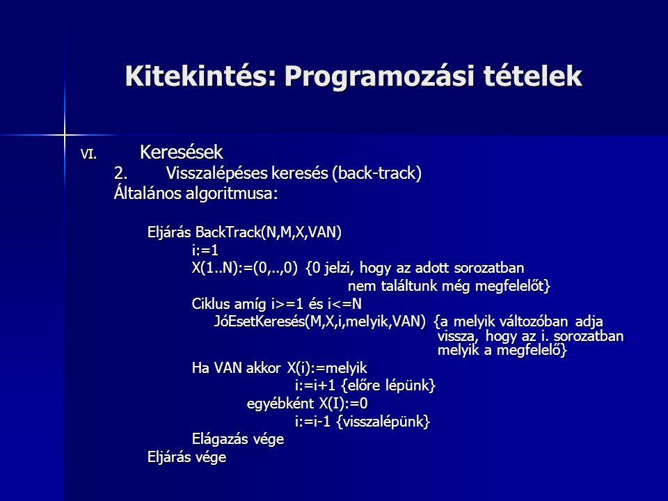 Kitekintés: Programozási tételek VI. Keresések 2.Visszalépéses keresés (back-track) Általános algoritmusa: Eljárás BackTrack(N,M,X,VAN) i:=1 X(1..N):=