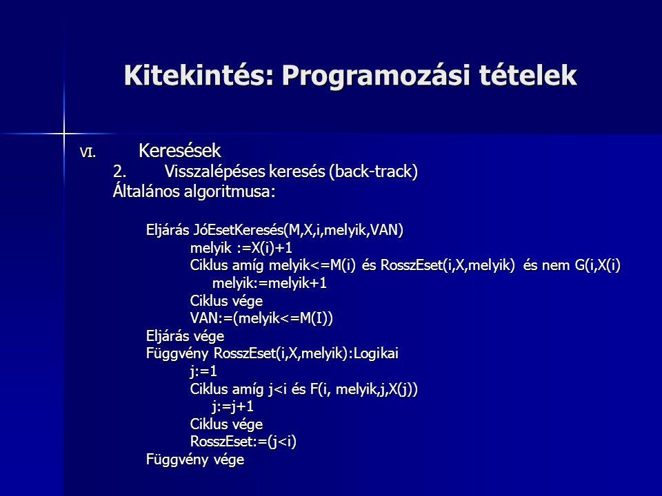 Kitekintés: Programozási tételek VI. Keresések 2.Visszalépéses keresés (back-track) Általános algoritmusa: Eljárás JóEsetKeresés(M,X,i,melyik,VAN) mel