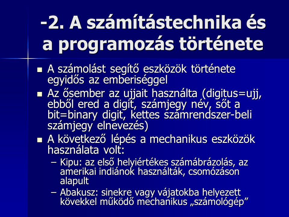 -2. A számítástechnika és a programozás története  A számolást segítő eszközök története egyidős az emberiséggel  Az ősember az ujjait használta (di