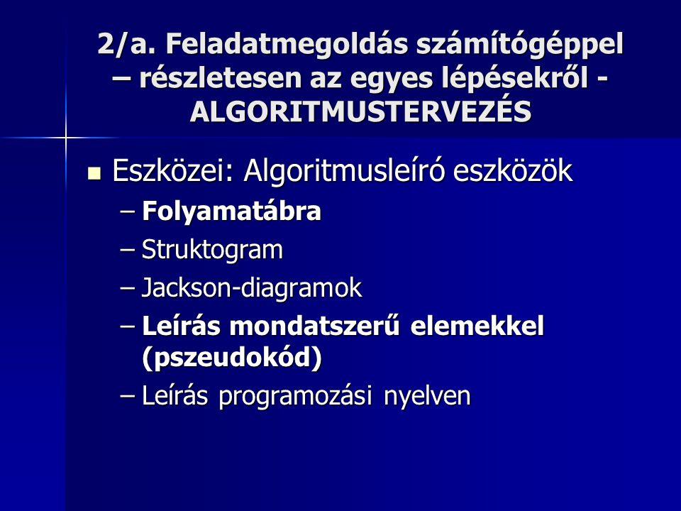 2/a. Feladatmegoldás számítógéppel – részletesen az egyes lépésekről - ALGORITMUSTERVEZÉS  Eszközei: Algoritmusleíró eszközök –Folyamatábra –Struktog