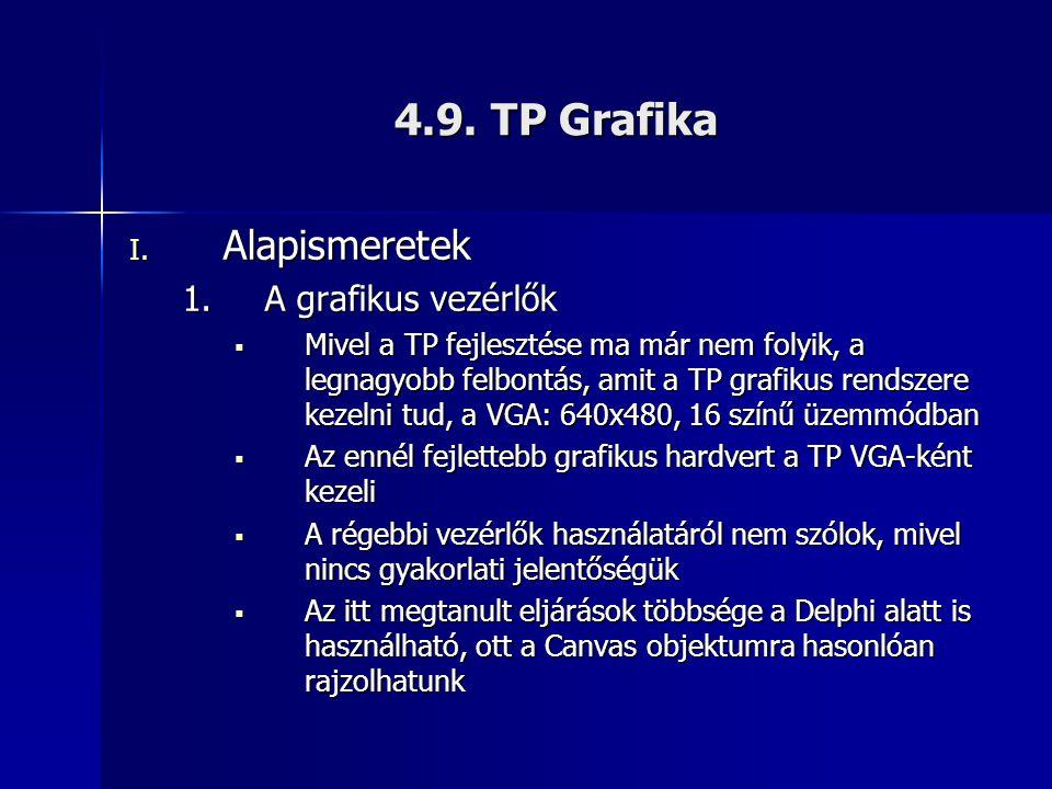 4.9. TP Grafika I. Alapismeretek 1.A grafikus vezérlők  Mivel a TP fejlesztése ma már nem folyik, a legnagyobb felbontás, amit a TP grafikus rendszer