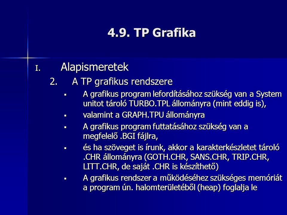 4.9. TP Grafika I. Alapismeretek 2.A TP grafikus rendszere  A grafikus program lefordításához szükség van a System unitot tároló TURBO.TPL állományra