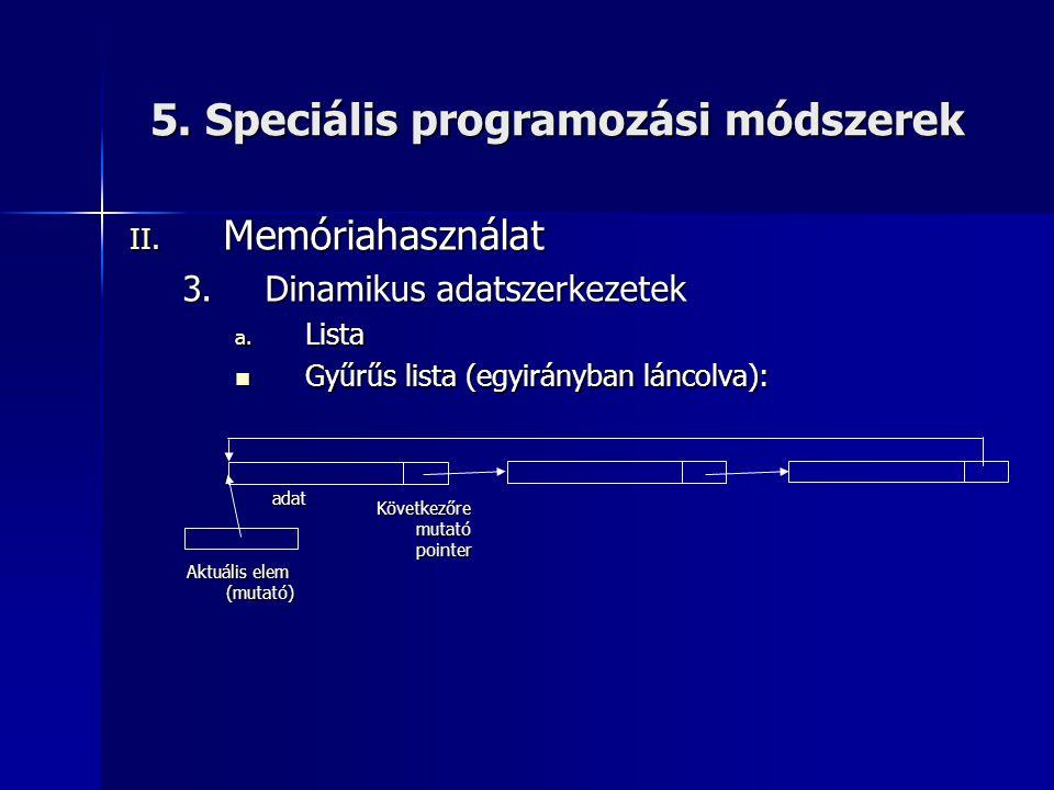 5. Speciális programozási módszerek II. Memóriahasználat 3.Dinamikus adatszerkezetek a. Lista  Gyűrűs lista (egyirányban láncolva): Aktuális elem (mu