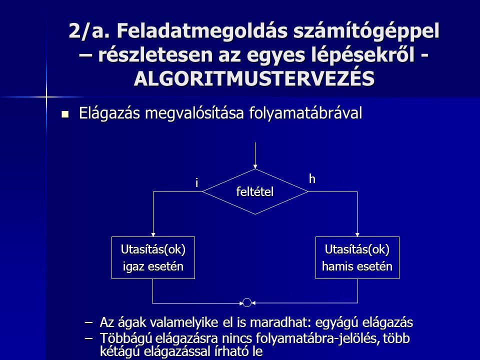 2/a. Feladatmegoldás számítógéppel – részletesen az egyes lépésekről - ALGORITMUSTERVEZÉS  Elágazás megvalósítása folyamatábrával –Az ágak valamelyik