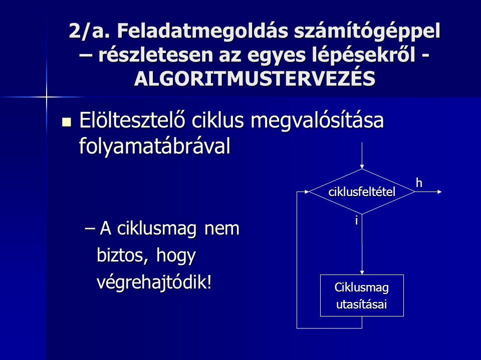 2/a. Feladatmegoldás számítógéppel – részletesen az egyes lépésekről - ALGORITMUSTERVEZÉS  Elöltesztelő ciklus megvalósítása folyamatábrával –A ciklu