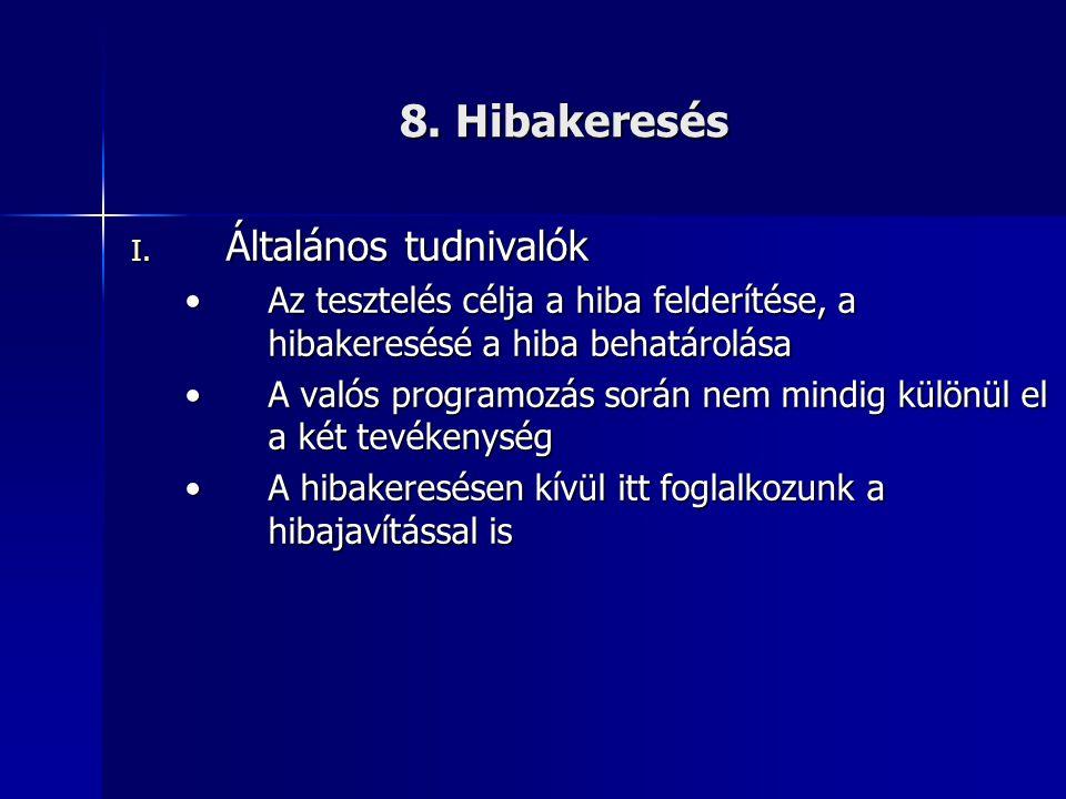 8. Hibakeresés I. Általános tudnivalók •Az tesztelés célja a hiba felderítése, a hibakeresésé a hiba behatárolása •A valós programozás során nem mindi