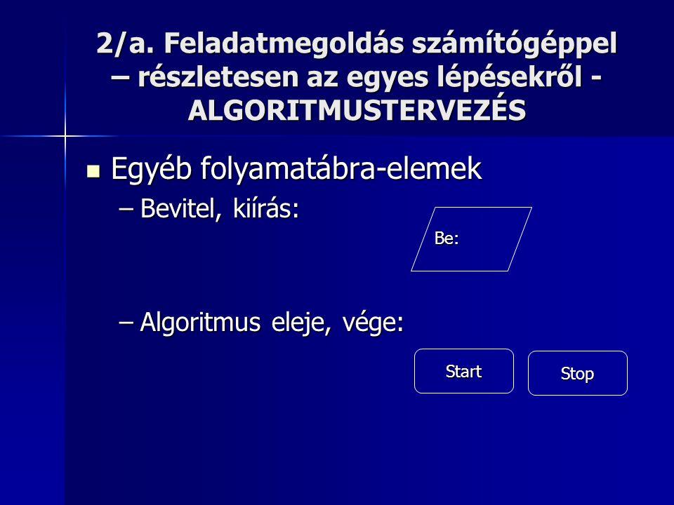 2/a. Feladatmegoldás számítógéppel – részletesen az egyes lépésekről - ALGORITMUSTERVEZÉS  Egyéb folyamatábra-elemek –Bevitel, kiírás: –Algoritmus el