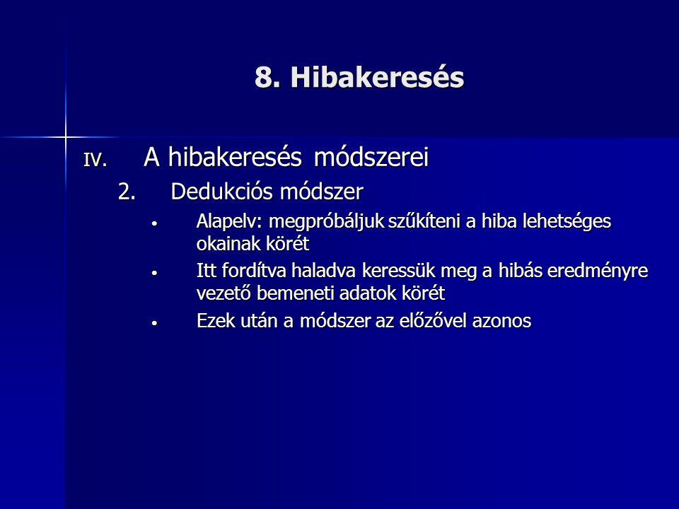 8. Hibakeresés IV. A hibakeresés módszerei 2.Dedukciós módszer • Alapelv: megpróbáljuk szűkíteni a hiba lehetséges okainak körét • Itt fordítva haladv