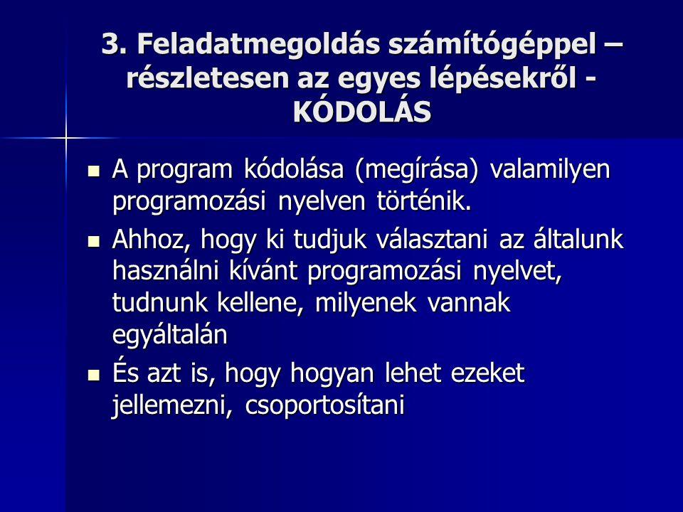 3. Feladatmegoldás számítógéppel – részletesen az egyes lépésekről - KÓDOLÁS  A program kódolása (megírása) valamilyen programozási nyelven történik.