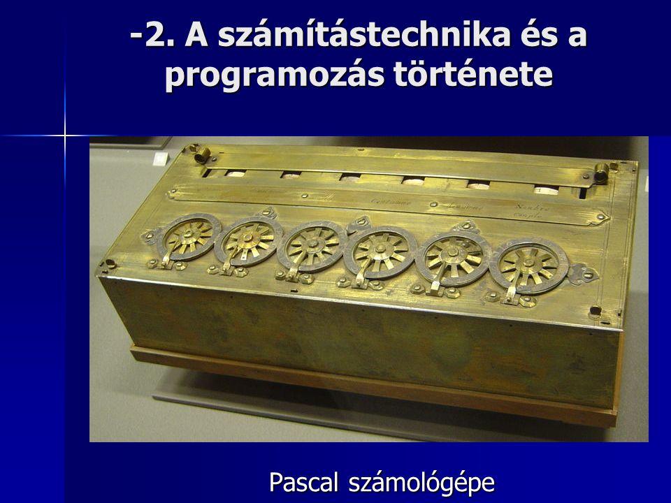 -2. A számítástechnika és a programozás története Pascal számológépe
