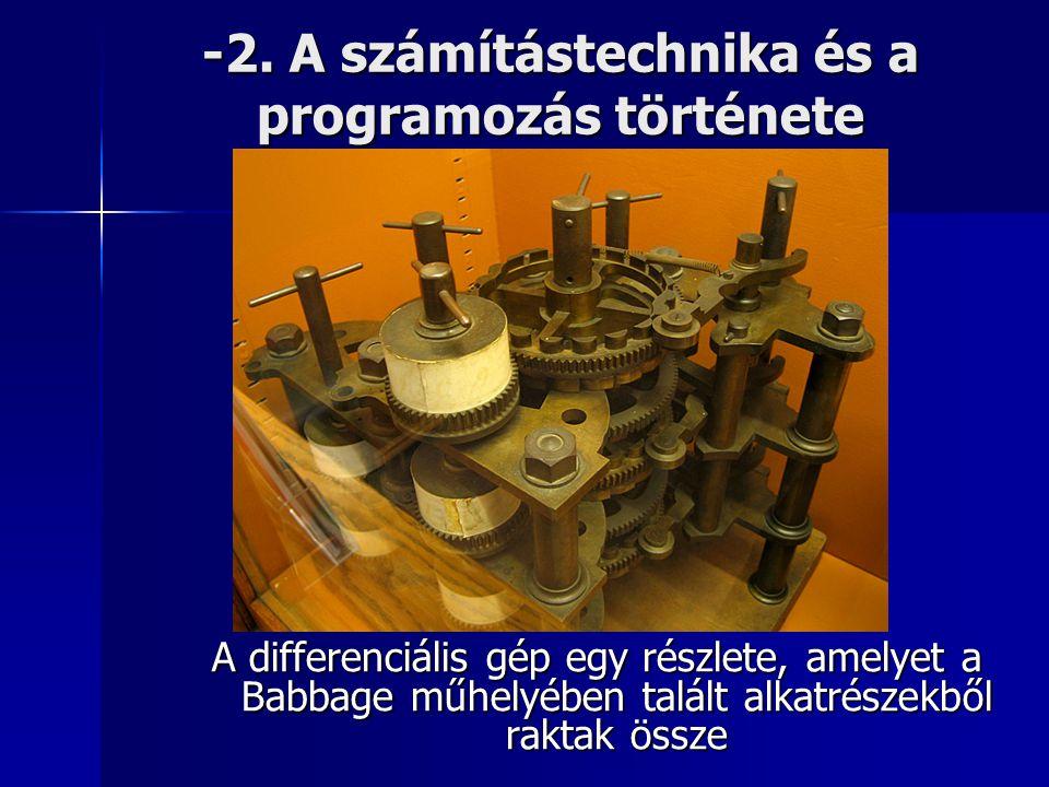 -2. A számítástechnika és a programozás története A differenciális gép egy részlete, amelyet a Babbage műhelyében talált alkatrészekből raktak össze