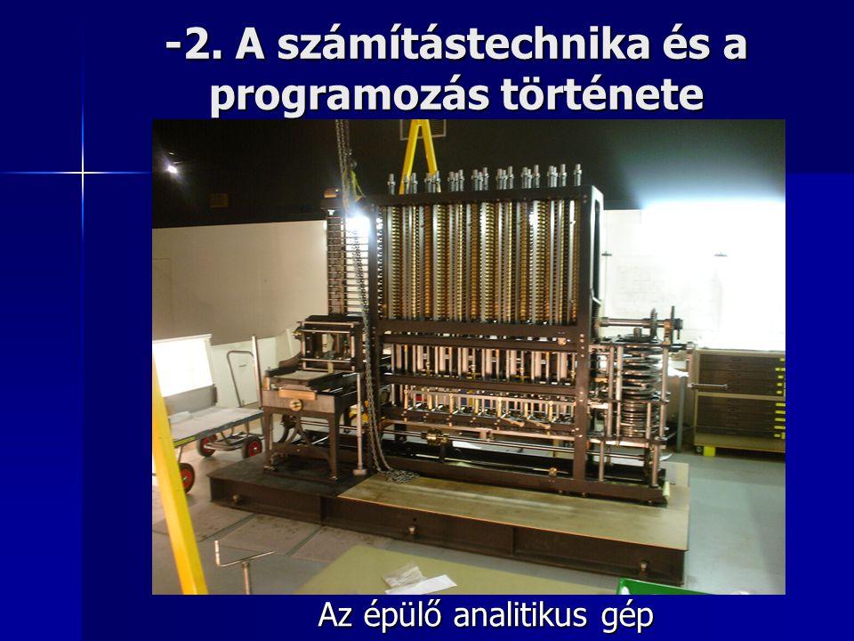 -2. A számítástechnika és a programozás története Az épülő analitikus gép