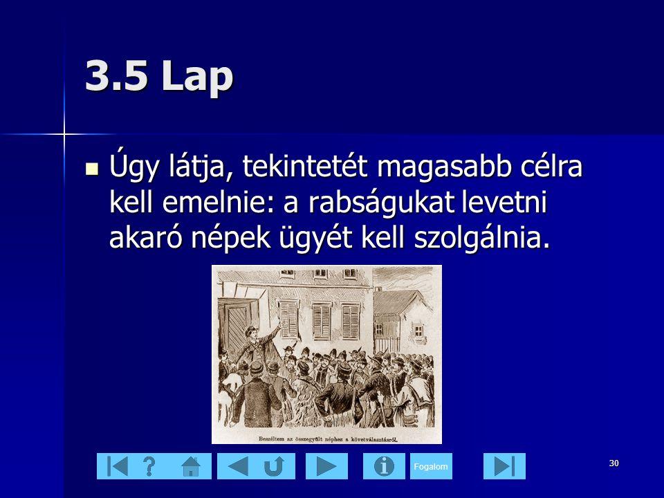 Fogalom 30 3.5 Lap  Úgy látja, tekintetét magasabb célra kell emelnie: a rabságukat levetni akaró népek ügyét kell szolgálnia.