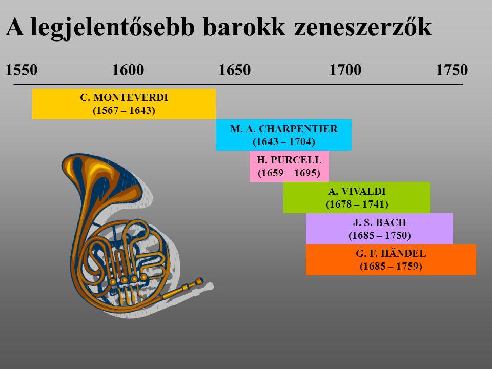 C. MONTEVERDI (1567 – 1643) M. A. CHARPENTIER (1643 – 1704) H. PURCELL (1659 – 1695) A. VIVALDI (1678 – 1741) J. S. BACH (1685 – 1750) G. F. HÄNDEL (1