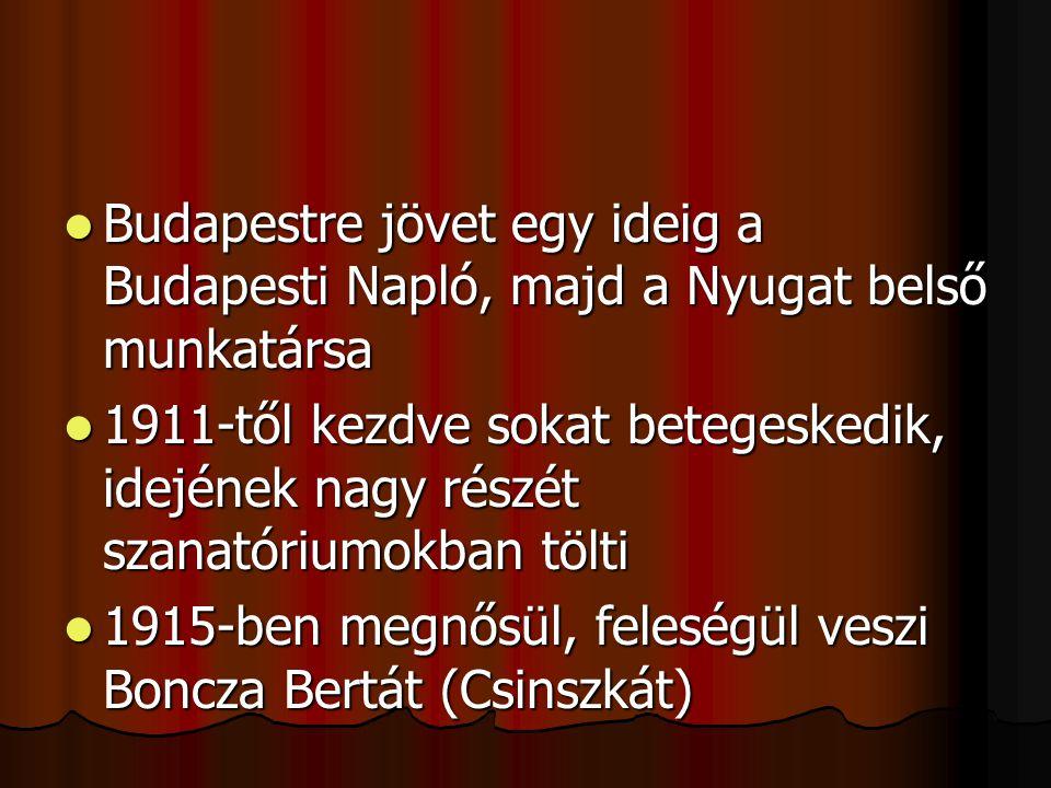 BBBBudapestre jövet egy ideig a Budapesti Napló, majd a Nyugat belső munkatársa 1111911-től kezdve sokat betegeskedik, idejének nagy részét sz