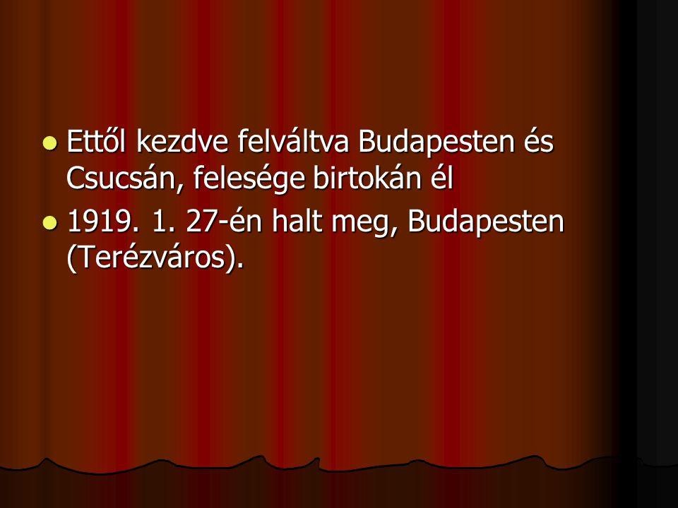 EEEEttől kezdve felváltva Budapesten és Csucsán, felesége birtokán él 1111919. 1. 27-én halt meg, Budapesten (Terézváros).