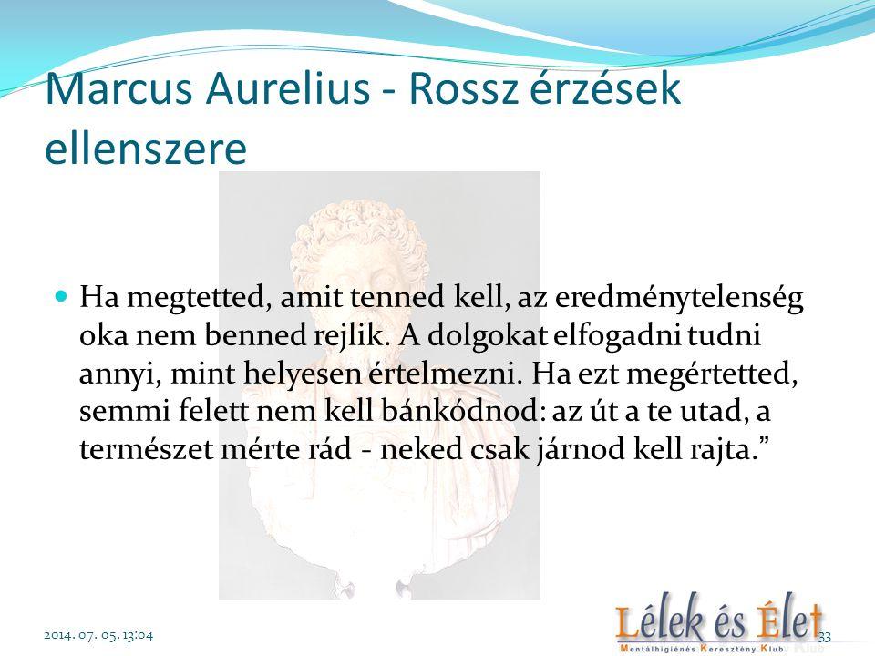 Marcus Aurelius - Rossz érzések ellenszere  Ha megtetted, amit tenned kell, az eredménytelenség oka nem benned rejlik. A dolgokat elfogadni tudni ann